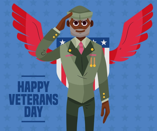 Flat design veterans day event