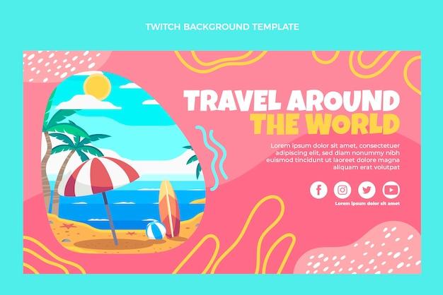 Flat design viajar pelo mundo twitch background