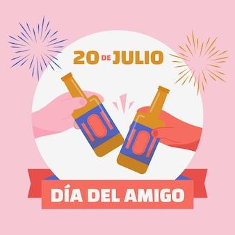 Flat dia del amigo - ilustração 20 de julio