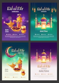 Flat eid al-fitr - coleção de histórias do instagram de eid mubarak
