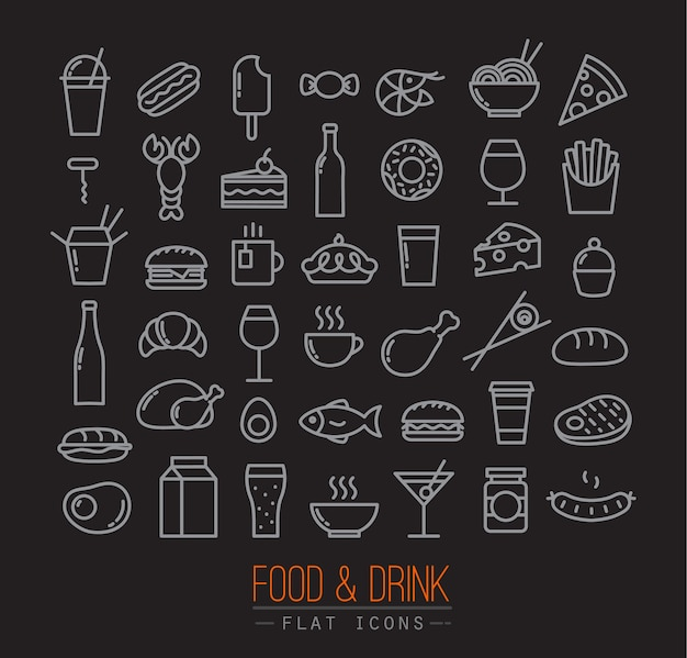 Flat food icons black