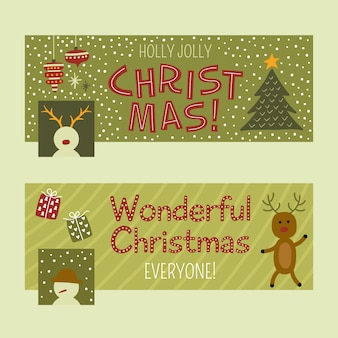 Flat funny christmas facebook cover paleta clássica
