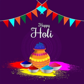Flat happy holi concept