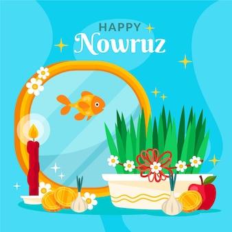 Flat happy nowruz event