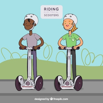 Flat homem / mulher andando scooter elétrico