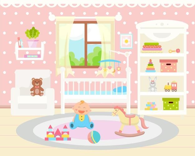 Flat interior do quarto do bebê