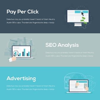 Flat internet web design conceitos de negócios ilustração vetorial