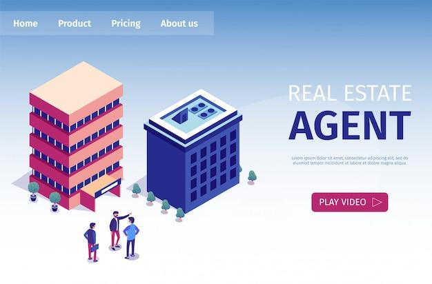 Flat is written página de destino do agente imobiliário