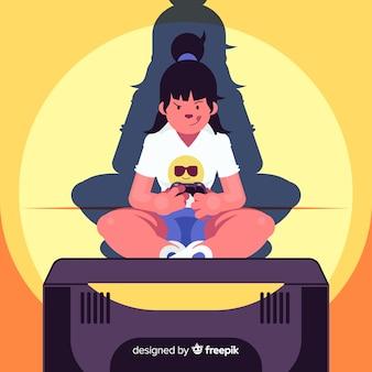 Flat jovem mulher jogando videogames