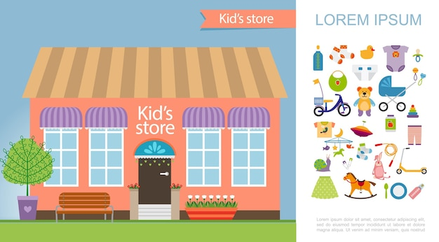 Flat kids store conceito colorido
