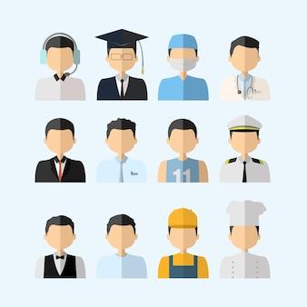 Flat lay man das várias profissões diferentes
