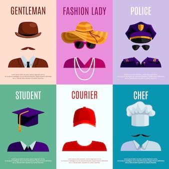 Flat mini cartazes conjunto de cavalheiro policial estudante mensageiro