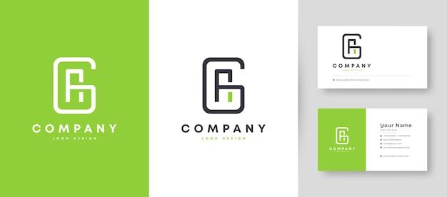 Flat minimal initial ag, logotipo da ga com modelo de design de cartão de visita premium