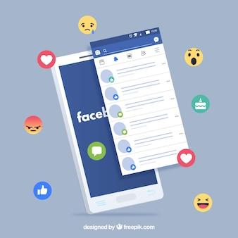 Flat mobile com notificações do facebook e emojis