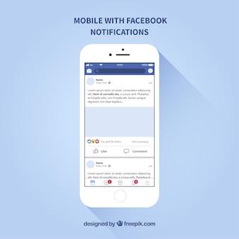 Flat mobile com notificações no facebook