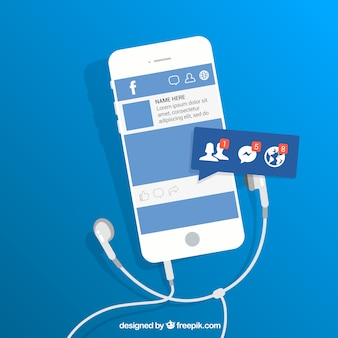 Flat mobile com notificações no facebook