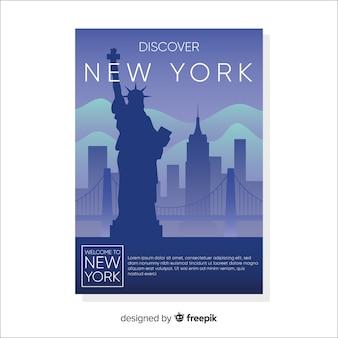 Flat new york cityscape panfleto