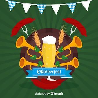 Flat oktoberfest com cerveja e trombetas