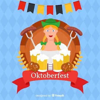 Flat oktoberfest com mulher segurando cervejas
