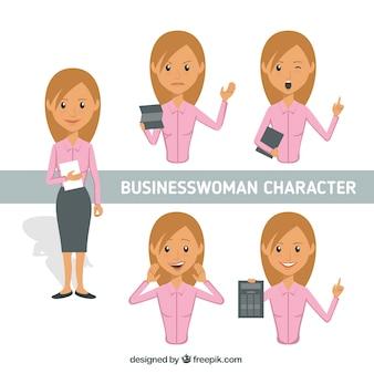 Flat pack de carácter mulher de negócios com expressões diferentes