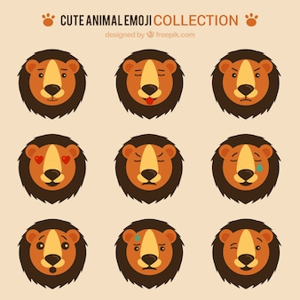 Flat pack de emoticons leão