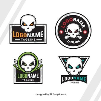 Flat pack de logotipos crânio com detalhes da cor