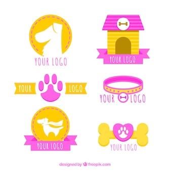 Flat pack de logotipos do cão com elementos rosa