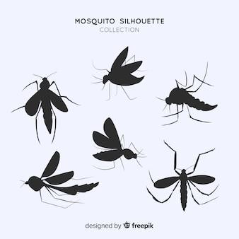 Flat pack de silhuetas de mosquito