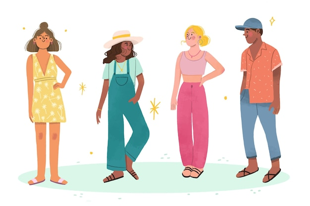 Flat people com coleção de roupas de verão