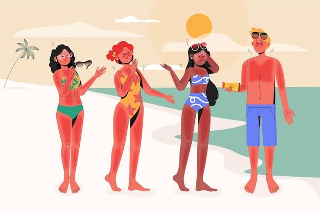 Flat people com queimaduras solares