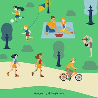 Flat people doing leisure atividades ao ar livre