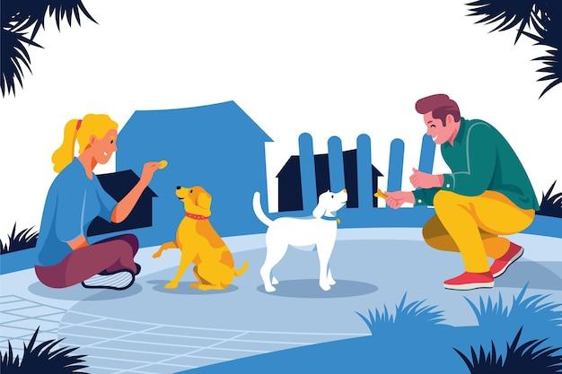 Flat pessoas com animais de estimação