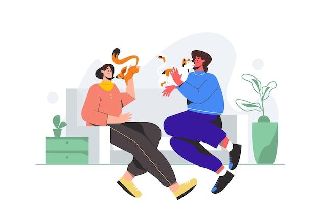 Flat pessoas com animais ilustrados