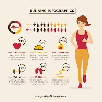 Flat running infographic com mulher e itens coloridos