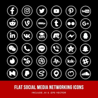 Flat social media networking icons vector