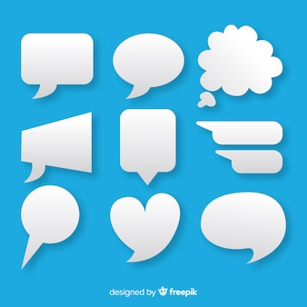 Flat speech bubble pack em estilo de papel