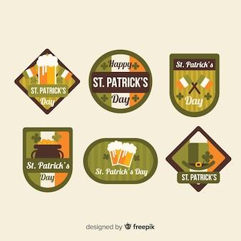 Flat st. coleção de distintivos do dia de patrick