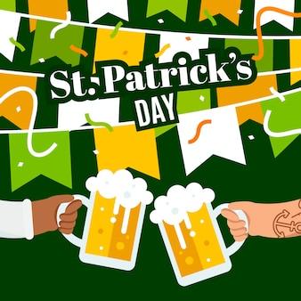 Flat st. ilustração do dia de patrick com canecas de cerveja