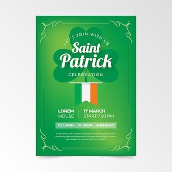 Flat st. modelo de cartaz do dia de patrick