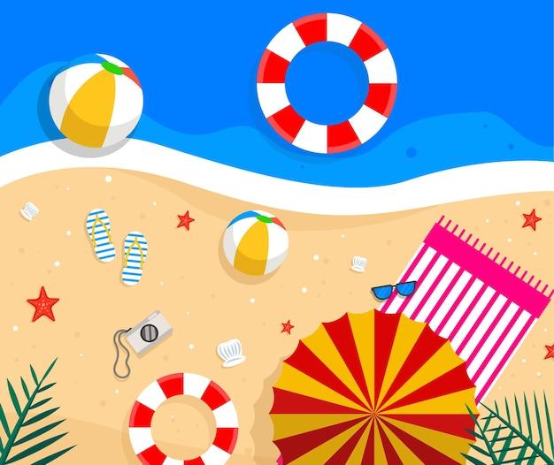 Flat summer beach