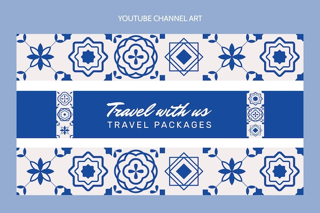 Flat travel youtube channel Vetor grátis