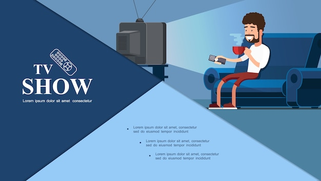 Flat tv show composição colorida