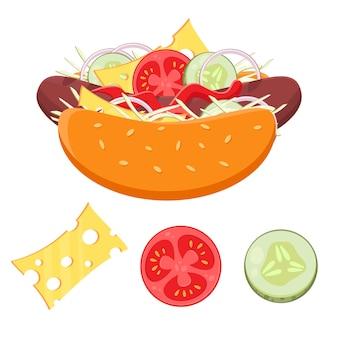 Flat vector fast food concept conjunto de ingredientes de cachorro-quente, pão e vegetais