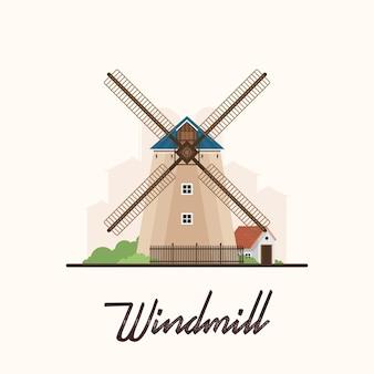 Flat vintage farm windmill em village