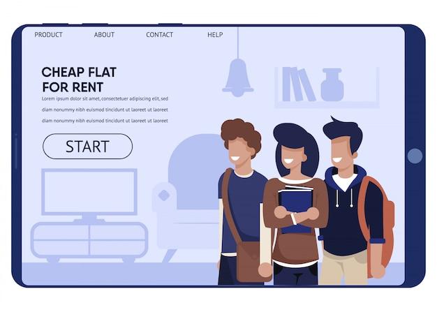 Flatsharing ao melhor preço para a página de destino do estudante