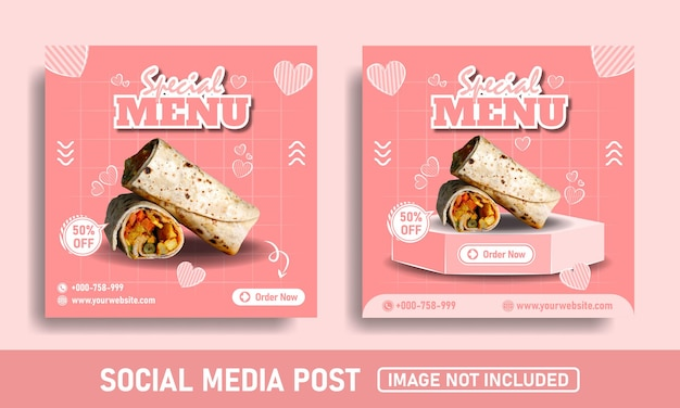 Flayer rosa ou kebab food promoção de mídia social e modelo de design do instagram