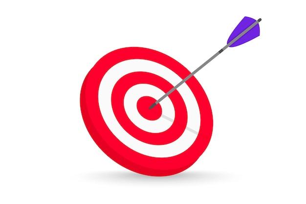 Flecha acertando o alvo conceito alcançando a meta no desafio de oportunidade de meta de investimento empresarial