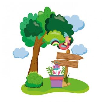 Flecha de madeira com galo e planta de casa no jardim