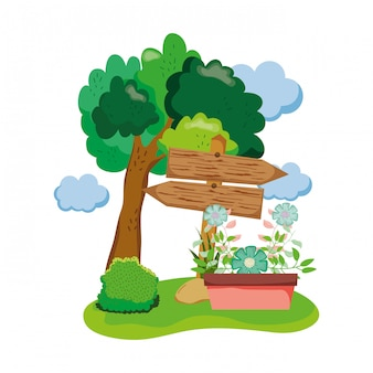 Flecha de madeira com planta de casa no campo