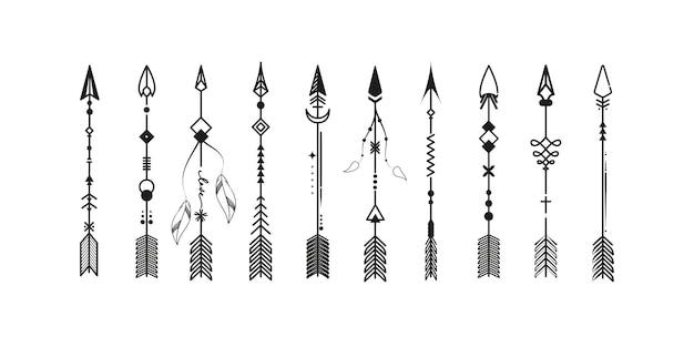 Flechas boho com elementos étnicos